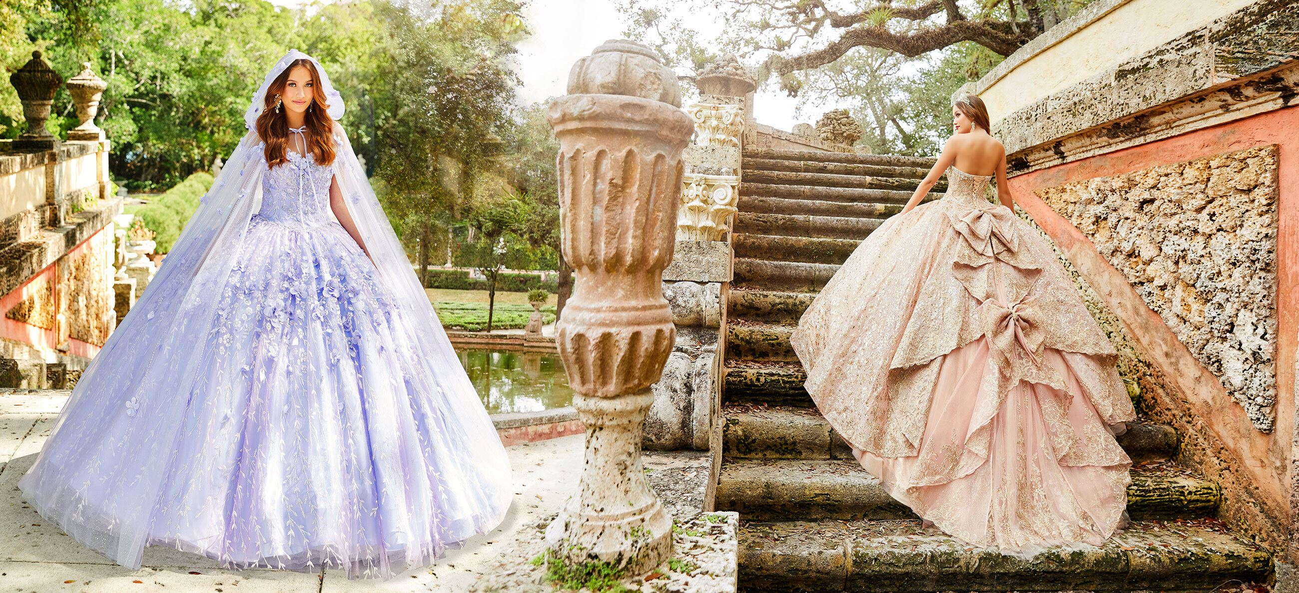 Brunette models in pink and purple quinceañera dresses